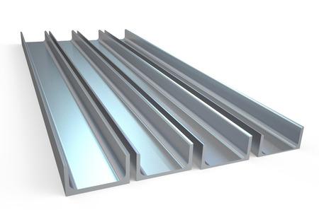 rejas de hierro: canales de acero aisladas sobre fondo blanco