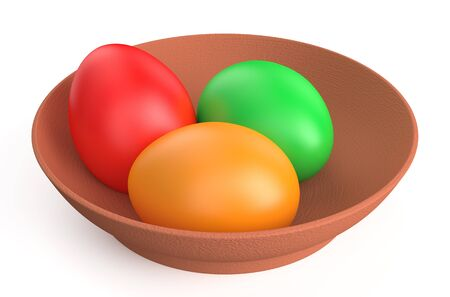 multi colored Easter eggs on clay plate isolated on white background photo