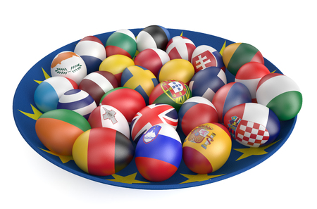 Easter eggs with the flags of the countries of the European Union isolated on white background