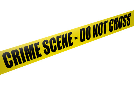 murder scene: Police Tape - crime scene do not cross isolated on white background