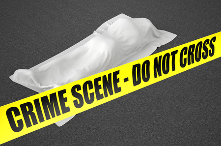 homicide: dead body covered with cloth Stock Photo