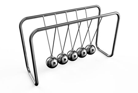 clicker: Newtons balls cradle isolated on white background