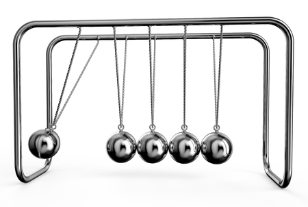 clicker: Newtons Cradle isolated on white background Stock Photo