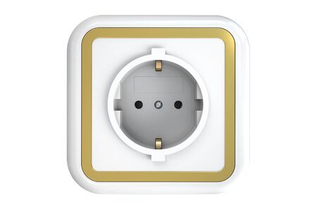 outlet: electrical outlet isolated on white background Stock Photo