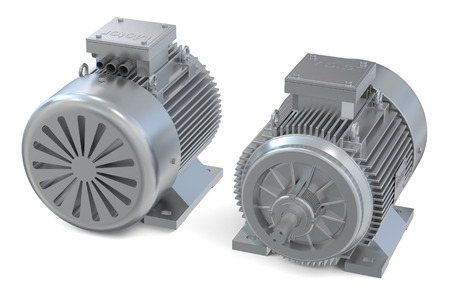Industrial electric motors, front and back view  isolated on white background photo