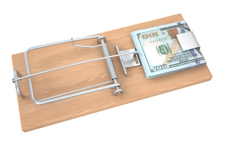 casualness: Money in a mousetrap isolated on white background