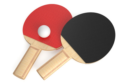 ping-pong rackets and ball isolated on white background photo