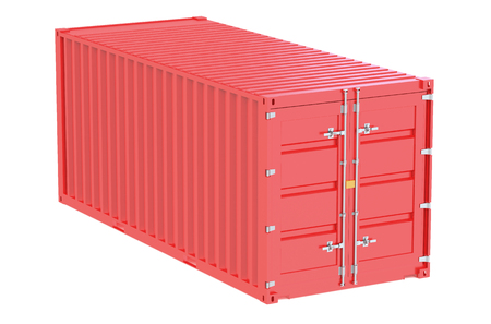 seafreight: red cargo container  isolated on white background