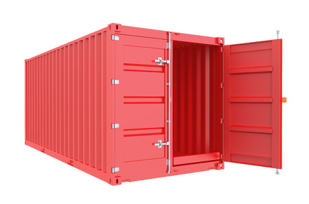 red opened cargo container isolated on white background