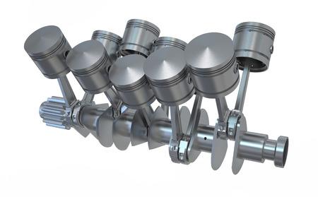 crankshaft: Crankshaft V10 engine isolated on white background