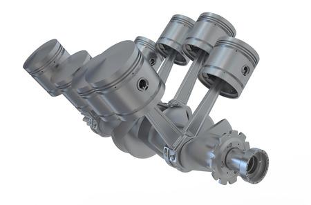 v8: V8 engine pistons and cog isolated on white background Stock Photo