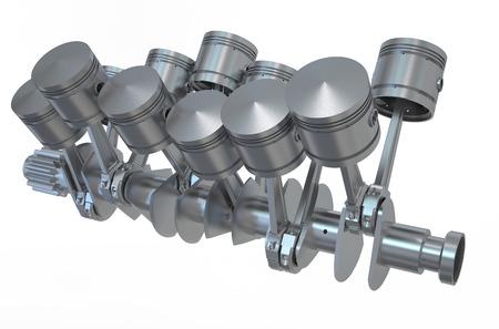 pistones: Pistones del motor V12 aislados sobre fondo blanco Foto de archivo
