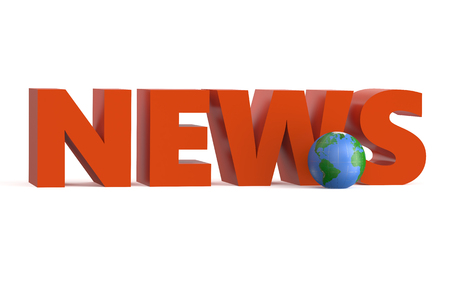 news cast: World News isolated on white background
