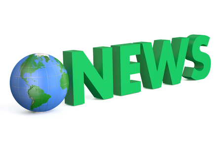 news cast: 3D globe with green word News isolated on white background