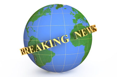 news cast: golden breaking news  around earth Stock Photo
