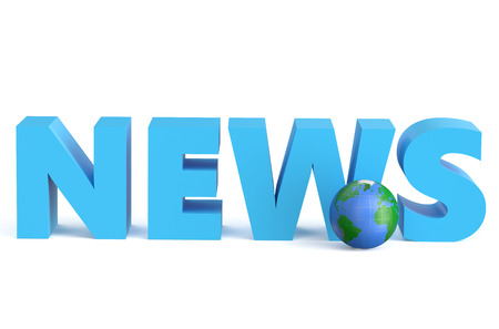 news cast: News - 3D with globe isolated on white background