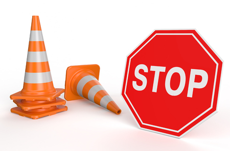 Traffic cones and sign stop isolated on white background