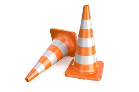 señales trafico: dos cono de tráfico aislados sobre fondo blanco