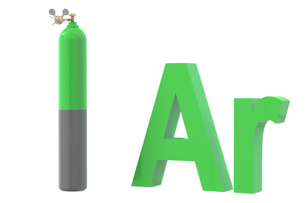 reducing: gas cylinder with argon, with pressure regulator and reducing valve