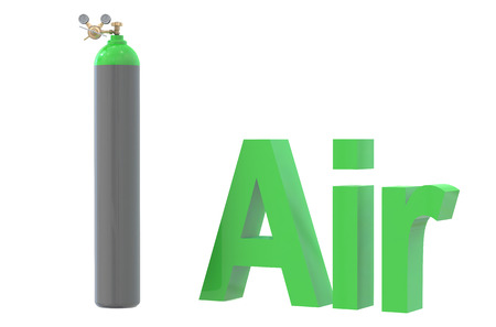 reducing: gas cylinder with air,  with pressure regulator and reducing valve