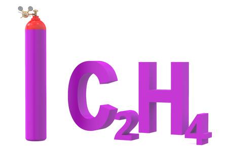 cilindro de gas: cilindro de gas con etileno, con regulador de presión y válvula de reducción de Foto de archivo