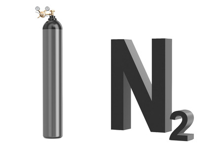 gas cylinder with nitrogen, with pressure regulator and reducing valve