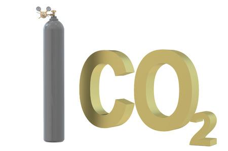 cilindro de gas: Regulador de presión con válvula de reducción en el cilindro de gas con dióxido de carbono
