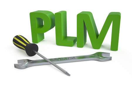 inception: product lifecycle management (PLM) service concept isolated on white Stock Photo