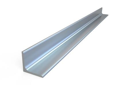 金属製の L バー、白い背景で隔離山形鋼を圧延