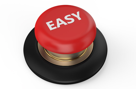 Easy red button isolated on white background photo