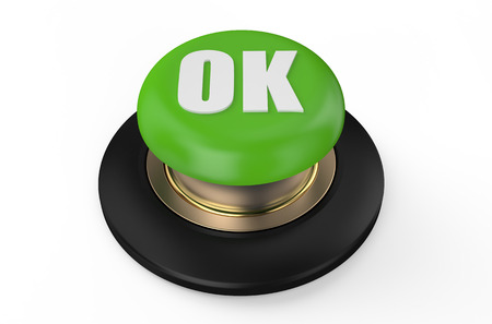 ok button: Green ok button isolated on white background