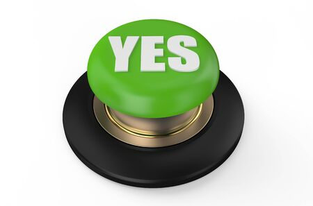 yes button: green yes button isolated on white background