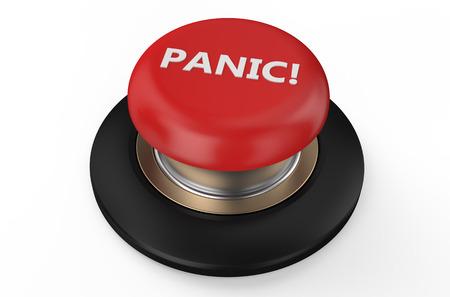panic button: Tasto rosso di panico isolato su sfondo bianco