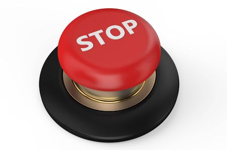 stop red button isolated on white background photo