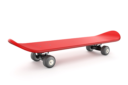 red skateboard isolated on white background Stock Photo