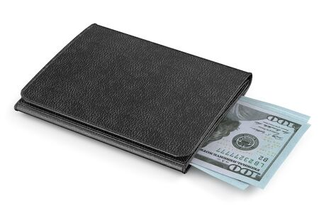 eather: black leather purse with money isolated on white background