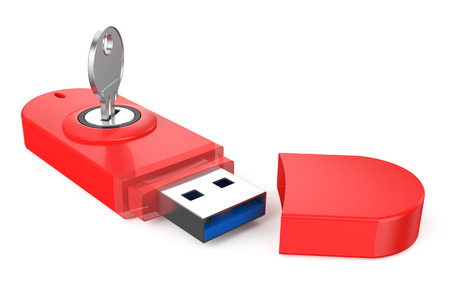 red Usb flashdrive ss 3.0 with key isolated on white background photo