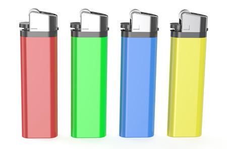 encendedores: cuatro encendedores de plástico de colores aislados sobre fondo blanco Foto de archivo