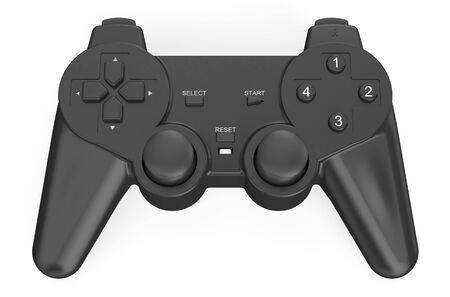 shoulder buttons: black game controller  isolated on white background Stock Photo