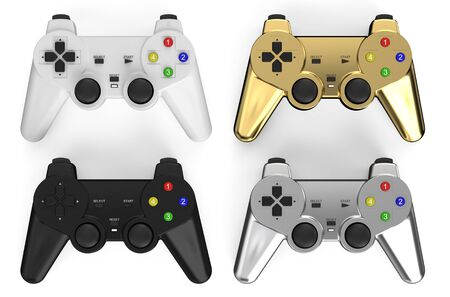 set of colored gamepads  isolated on white background