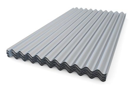 Gegolfde metalen leien voor daken op een witte achtergrond