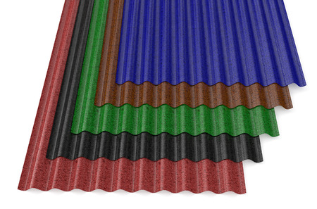slate roof: Corrugated Painted slates for roofing isolated on white background