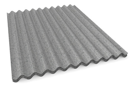 slate roof: grey corrugated Slates for roofing isolated on white background Stock Photo