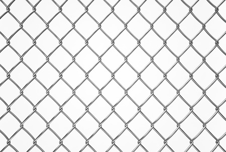 wired fence pattern on white background, texture Stock Photo