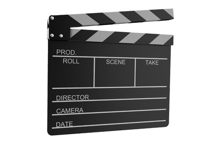 Clapperboard isolated on white background photo