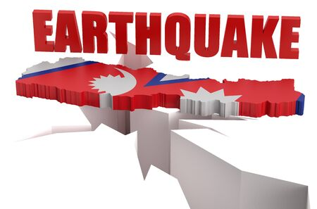 seismic: earthquake in Nepal concept isolated on white background Stock Photo