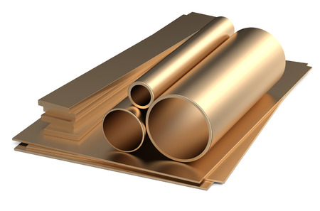 rolled metal, bronze tube and sheets isolated on white background