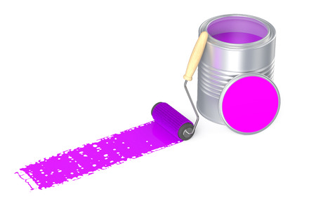 paint container: Can with purple paint and roller brush isolated on  white background