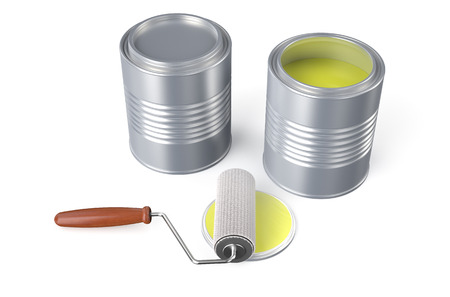 roller brush: Cans with yellow paint and roller brush