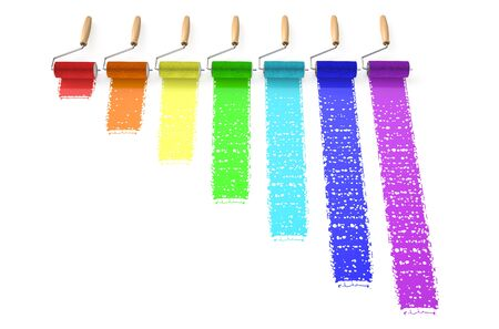 whitewash: rainbow from paints isolated on  white background Stock Photo